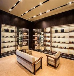 ... High End Retail Wooden Shoe Store Displays