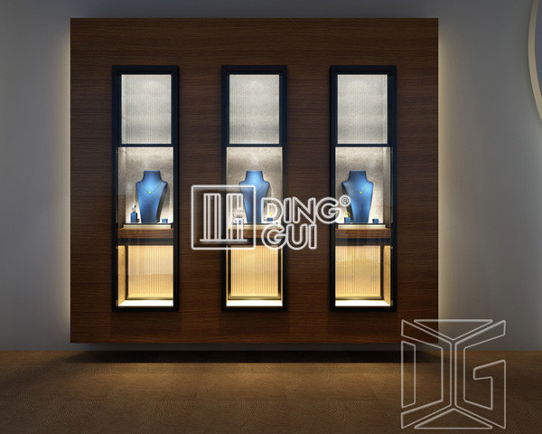High End Wooden Wall Jewelry Store Display Cabinet Display