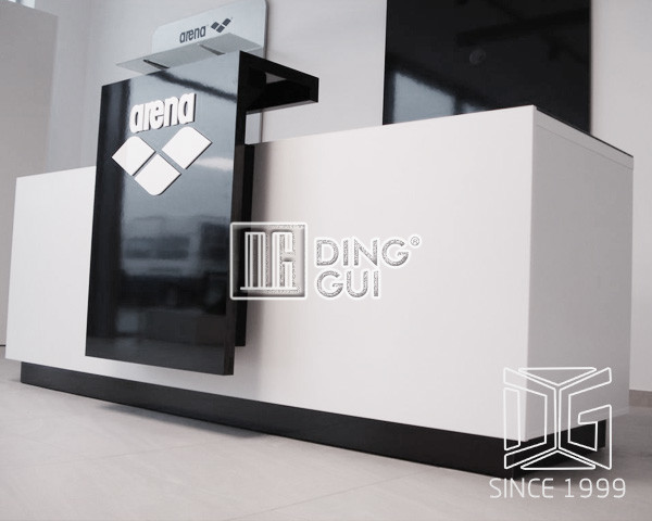 high end brand shop counter design with logostore counter