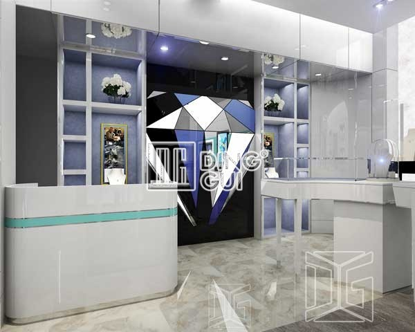 Arylic jewelry wall dislay showcase cabinets dg furniture for Jewelry stores in dfw area