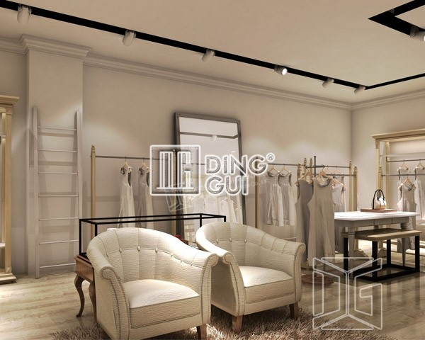 Custom glass display cabinets dg furniture free design manufacture for Clothing store interior design pictures
