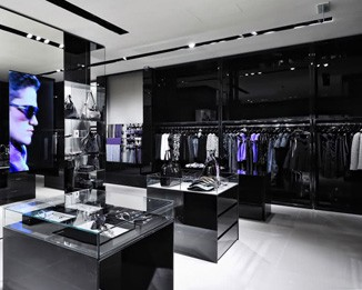 CL28 Black Glossy Clothing Store Design