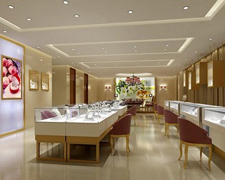 Luxury custom commercial retail display environment for Jewellery showrooms interior designs