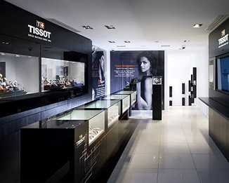 WA24 Black Tissot Watch Shop Counter Design