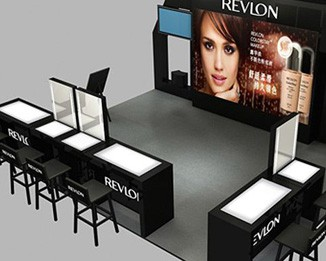 CM68 Fashion Black Cosmetic Kiosk Display Stands