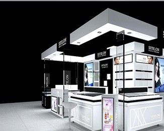 CM19 Fashion White Cosmetic Kiosk Display