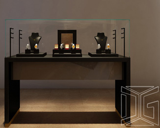 DC22 High End Wooden Sit Down Jewelry Display Case