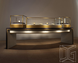 DC13 Luxury Golden Stainless Steel Jewelry Displays Showcase