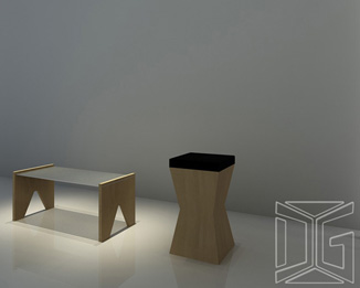 Custom Design Irregular Curved Display Pedestals