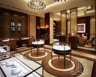 JE10 Gold Jewellery Store Display Design