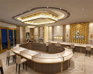 JE09 Luxury Golden Jewelry Store Interior Design