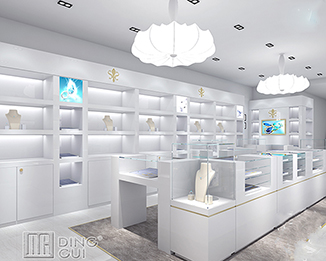 JE192 Romantic High Class Fresh Attractive Simple Jewellery Showroom Counter Design