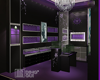 JE203 Newest Fantastic Romantic Purple Wooden Led Light Jewelry Display Case