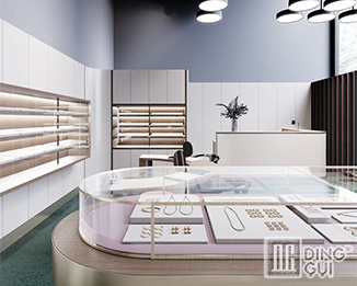 JE172 Modern elegant and fashion jewelry shop interior design display cabinets